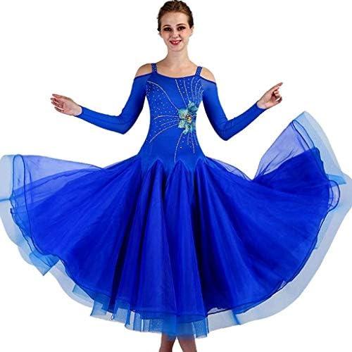 パフォーマンススーツロングスリーブ女性現代のワルツタンゴダンス衣装社交ダンススカート
