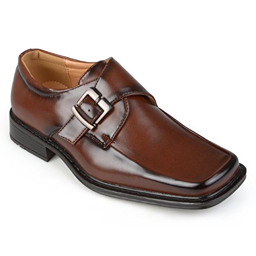 Daxx Mens Square Toe Buckle Detail Loafers Wine 9.5 - Daxx Leather
