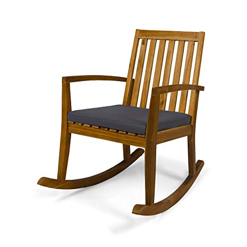 Great Deal Furniture Yvonne Patio Rocking Chair, Acacia Wood Frame, Traditional, Teak Finish with Dark Gray Cushions