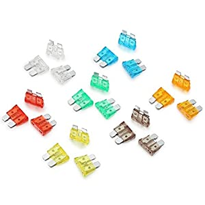 RamPro 120-Pc Car Truck Boat Fuse Assortment Kit - 5, 7.5, 10, 15, 20, 25, 30 AMP – Regular Standard APR/ATO (Open)/ATS Fuses