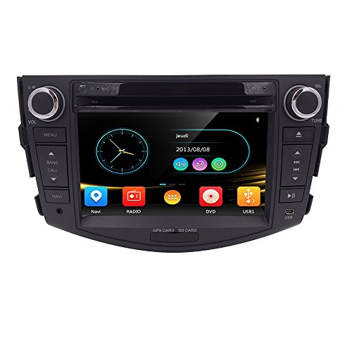 (HIZPO 7 Inch In Dash HD Touch Screen Car CD DVD Player FM/AM Radio RDS Stereo GPS Navigation Map Card for Toyota RAV4 2006-2012)