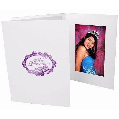 Mis Quinceanera foil on white cardboard photo folder frame Our price is for 50 units - 4x6 by SendAFrame