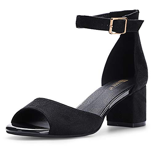 IDIFU Women's IN2 Candie Low Chunky Block Heel Pump Heeled Sandals Buckle Ankle Strap Peep Toe Dress Shoes (10 M US, Black -