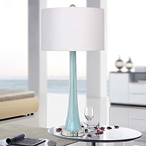 Crystal desk lamp Bedside and Table Lamps creative living room bedroom bedside decorative lights E27 light button switch ( Color : Blue )