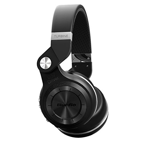 Bluedio T2 Plus Turbine Wireless Bluetooth Headphones with Mic/Micro SD Card Slot/FM Radio (Black) (Bluetooth Fm Radio Headphones)