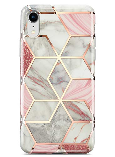 Coolwee iPhone XR Case Marble Slim Fit Bling Glitter Sparkle Case Foil Stripe 10R Thin Cute Design Glossy Finish Soft TPU Bumper Girls Women Protective Cover for Apple iPhone XR 6.1 inch Rose Gold