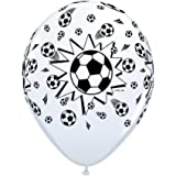 Black & White Football/Soccer 11 Latex Qualatex Balloons x 5 by Sports & National Themed Balloons