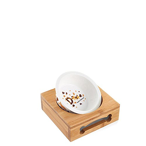 Perro Bowl Tazón De Fuente Doble Cerámica Bambú Madera Comedor Mesa De Acero Inoxidable-Q