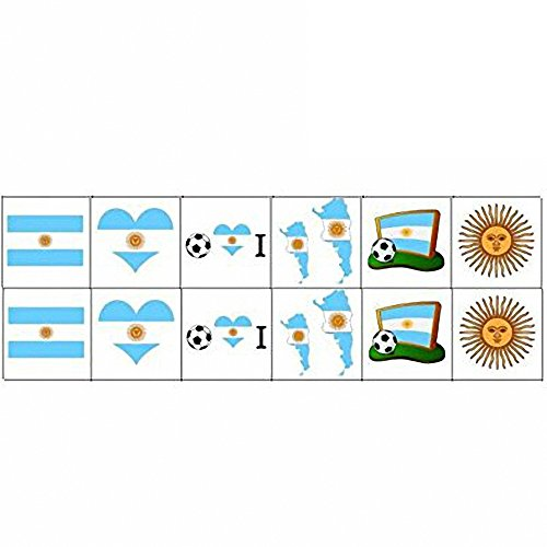 Dream Loom National Flag Tattoos, World Cup Temporary Tattoos,Russia 2018 Stickers Flag Stickers for Football Game Face Body Decor 12 Sheets (Argentina)