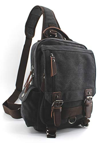 (Jiao Miao Canvas Shoulder Backpack Travel Rucksack Sling Bag Cross Body Messenger Bag,180308-Black)