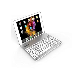 Dansrue Ultra-Slim Keyboard Case for iPad Pro 9.7 / iPad Air 2 Bluetooth Keyboard with 7 Colors LED Backlit (For iPad model: A1566 / A1567/ A1673 / A1674 / A1675), Sliver