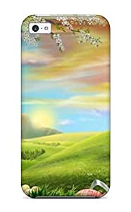 AnnaSanders Scratch-free Phone Case For Iphone 5c- Retail Packaging - Fantastic Easter Surprise Serene Scenery