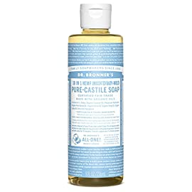 Dr. Bronner's Pure-Castile Liquid Soap - Baby Unscented - 8 Ounce 109 BABY UNSCENTED.  With no added fragrance and double the olive oil, our Baby Unscented Pure-Castile Liquid Soap is good for sensitive skin - babies too (though not tear-free!) SMOOTH AND MOISTURIZING.  Dr. Bronner's Liquid Pure-Castile Soap offers organic and vegan ingredients for a rich, emollient lather and a moisturizing after feel. It uses organic hemp, olive, and coconut oil to nourish your clean, healthy skin NATURAL.  Smooth and luxurious soap with no synthetic detergents or preservatives, as none of the ingredients or organisms from which they are derived are genetically modified. Use on your hands, face, or hair, or dilute your soap for a multi-use cleaning product