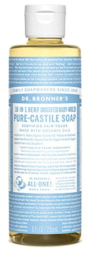 Dr. Bronner's Pure-Castile Liquid Soap - Baby Unscented - 8 Ounce 1 BABY UNSCENTED.  With no added fragrance and double the olive oil, our Baby Unscented Pure-Castile Liquid Soap is good for sensitive skin - babies too (though not tear-free!) SMOOTH AND MOISTURIZING.  Dr. Bronner's Liquid Pure-Castile Soap offers organic and vegan ingredients for a rich, emollient lather and a moisturizing after feel. It uses organic hemp, olive, and coconut oil to nourish your clean, healthy skin NATURAL.  Smooth and luxurious soap with no synthetic detergents or preservatives, as none of the ingredients or organisms from which they are derived are genetically modified. Use on your hands, face, or hair, or dilute your soap for a multi-use cleaning product