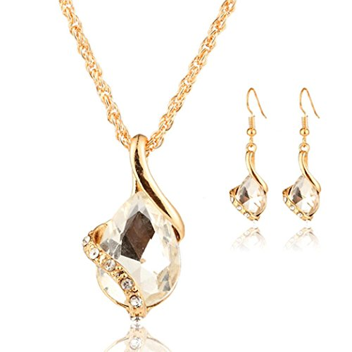 Women Girls Pendant Necklace Earring Set Cuekondy Heart Crystal Water Drop Statement Jewelry (White) (Heart Earring Drop Set)