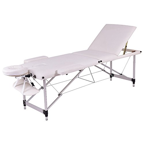 White 72''L Portable Massage Table Heavy Duty Aluminum Frame Salon SPA Chair Beauty Height Adjustable Table Tattoo Parlor Facial Bed Multi Purpose Professional Therapists Chiropractors Home Therapy