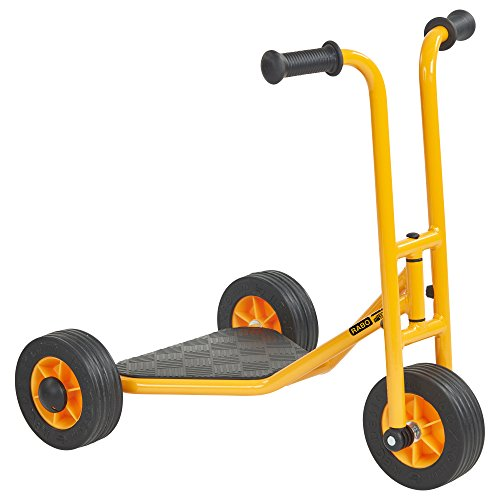 RABO 3-Wheel Stand-Up Scooter (powered by ECR4Kids), Premium Toddler Scooter for Backyards & Schoolyards (Yellow/Black)