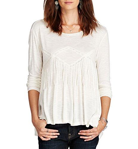 (Denim & Supply Ralph Lauren Women's Lace-Trim Slub Jersey Top Antique Cream Large)
