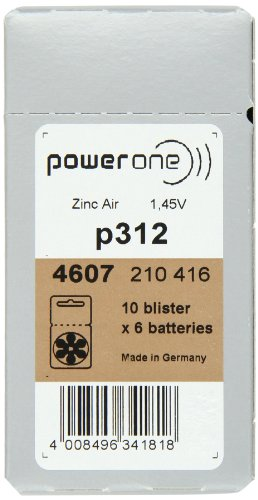 PowerOne Size 312 Hearing Aid Batteries - 50 x 6 packs = 300 pcs. by Power One