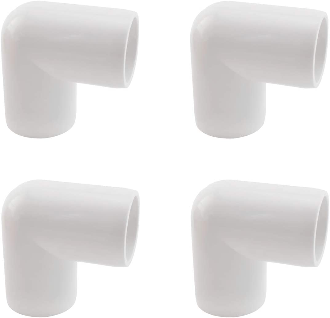 SDTC Tech 4-Pack 3/4 Inch 90 Degree Right Angle PVC Fitting Elbow Furniture Grade Pipe Connector for DIY PVC Shelf Garden Support Structure Storage Frame, White