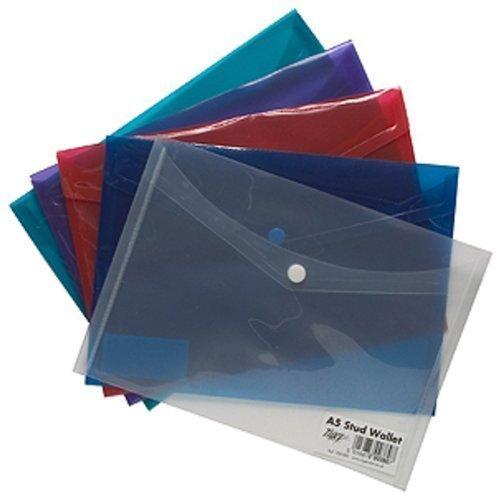 Tiger A5 coloured document stud wallet folder files - pack of 5