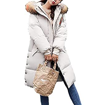 BOLAWOO Pluma Mujer Elegante Invierno Abrigos con Cuello De Piel Manga Larga Mode De Marca Bolsillos Laterales Cómodo Botón con Cremallera Abrigo Chaqueta: ...