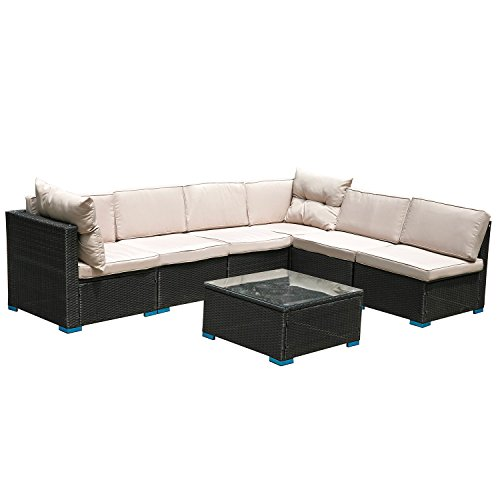 Hq Indoor Outdoor Patio Rattan Sofa Furniture Set Clearance 7 PC Conversation Patio Furniture Sectional Wicker Sofa Set Furniture Black Couch Set All-Weather Black Wicker with Brown Washable Cushion -
