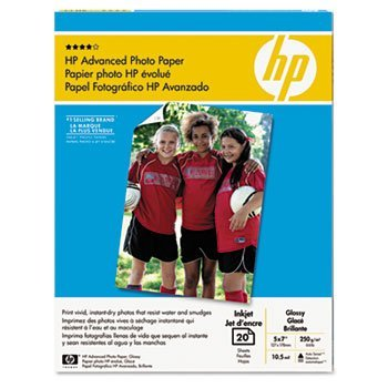 """HP 20-Count 5"""" x 7"""" Glossy Advanced Photo Paper White CG812A"""