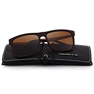 MERRY'S Polarized Square Sunglasses for men Aluminum Legs 100% UV Protection S8250(Brown, 56)