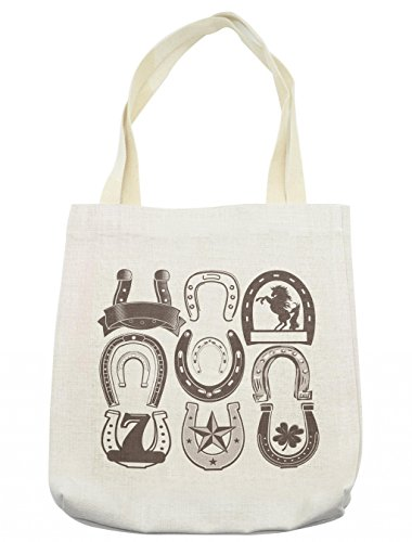 Lunarable Horseshoe Tote Bag, Horseshoe Collection Spirituality Plant Symbolism Belief Faith Clip Star Print, Cloth Linen Reusable Bag for Shopping Groceries Books Beach Travel & More, Cream by Lunarable