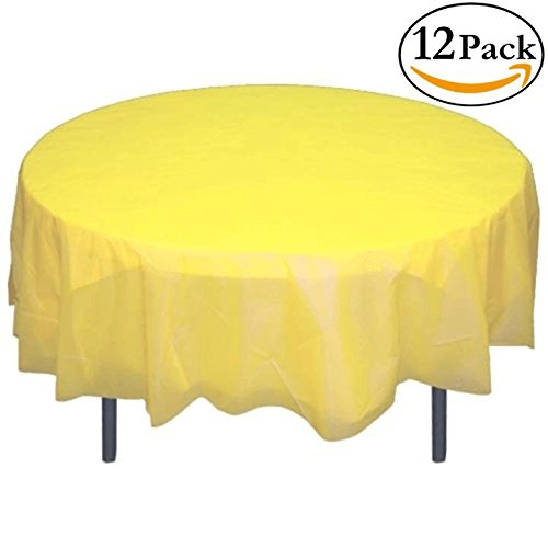 12-Pack Premium Plastic Tablecloth 84in. Round Table Cover - Light - Round Yellow