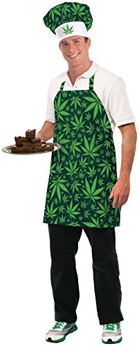 Forum Novelties Men's Cannabis Costume Hat and Apron, Green, Standard (The Best Weed Brownies)