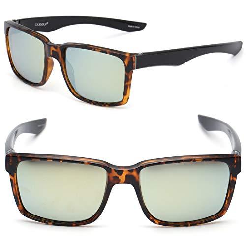(CAXMAN Polarized Sunglasses for Men Women Rectangular Square Sunglasses for Fishing Driving Tortoise Shell Frame with Light Gold Mirrored Lens 100% UV Protection)