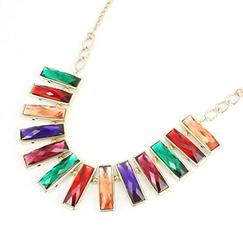 [Plastic Lady Woman Rectangle Shape Faceted Beads Necklace Multicolor] (Faceted Rectangle Shape)