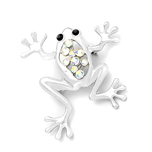 - Joji Boutique Silver Tree Frog Pin with Aurora Borealis Crystals