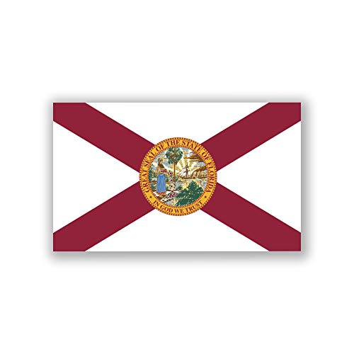 (2-Pack Florida State Flag Decal Sticker | Official Flag of Florida Sticker | 5-Inches by 3-Inches | Premium Quality UV Protected Laminated Vinyl | PD315)