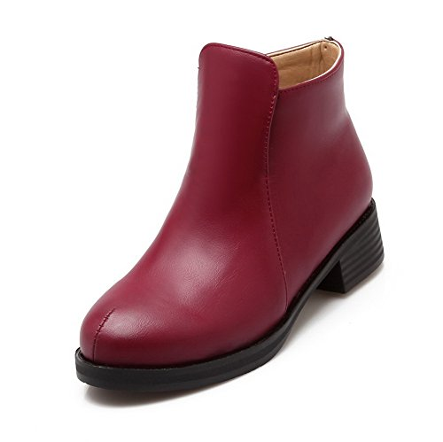 AmoonyFashion Womens Soft Material Round Closed Toe Solid Low-Top Low-Heels Boots Claret