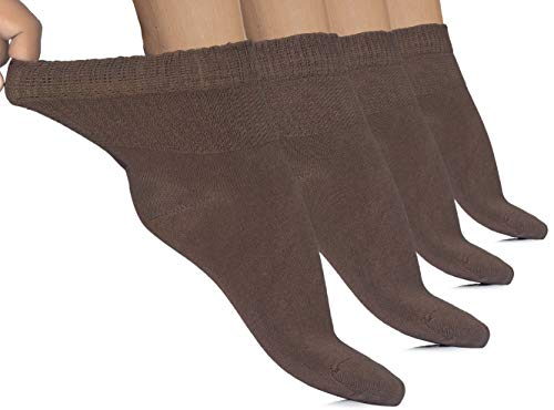 Dark Brown Bamboo - Hugh Ugoli 4 Pairs Women's Diabetic Ankle Socks Bamboo Seamless Toe and Non-Binding Top (Brown, Shoe size: 6-10)