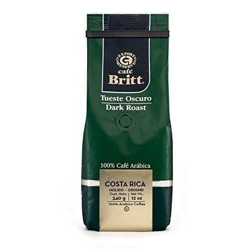 Cafe Britt Costa Rica Dark Roast Ground Coffee, 12-Ounce Bag