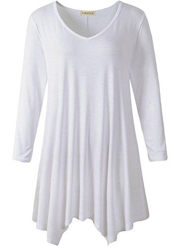 (LARACE Womens V-Neck Plain Swing Tunic Top Casual T Shirt(M, White))