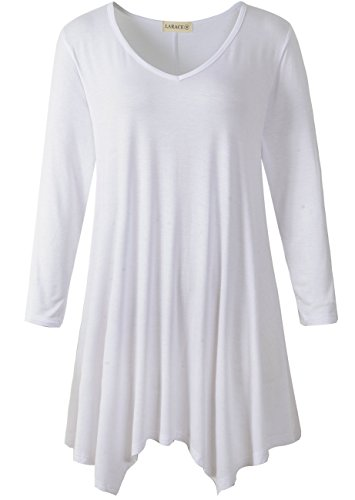 LARACE Womens V-Neck Plain Swing Tunic Top Casual T Shirt(1X, ()
