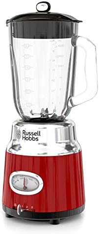 Russell Hobbs BL3100RDR Retro Style 6-Cup Blender, Glass Jar, Red