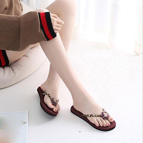 Fheaven Été Plage Pantoufle / Femmes Slim Plage Flip Flops Sandales Chaussures Pantoufles De Bain En Plein Air Inddor Sandales Marron