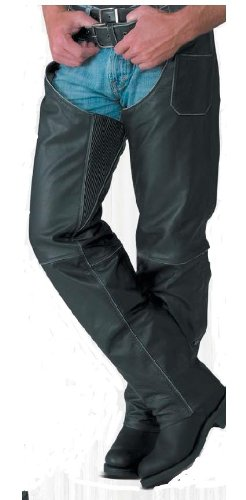 River Road Rambler Leather Chaps , Gender: Mens/Unisex, Primary Color: Black, Size: 2XL, Apparel Material: Leather, Distinct Name: Black XF-1-09-5100
