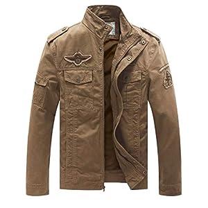 WenVen Homme Veste d'Extérieur Veste Coupe-Vent en Coton Classique Manteau d'Extérieur Décontracté Veste Cargo Militaire