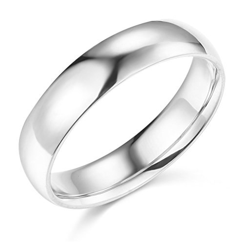 Wellingsale Mens 14k White Gold Solid 5mm CLASSIC FIT Traditional Wedding Band Ring - Size 10 -
