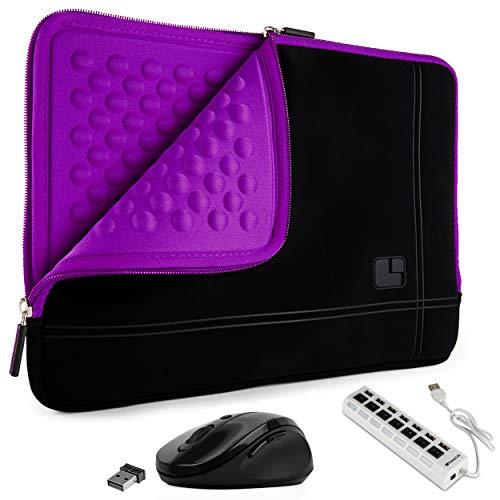 SumacLife 15.6inch Shock Absorbing Purple Laptop Sleeve USB Hub & Mouse Suitable HP Chromebook - EliteBook - Envy - Omen - Pavilion - ProBook - Spectre - ZBook