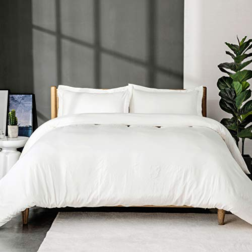 Bedsure White Washed Duvet Cover Set Full/Queen Size with Zipper Closure,Ultra Soft Hypoallergenic Comforter Cover Sets 3 Pieces (1 Duvet Cover + 2 Pillow Shams), 90X90 inches (Cover White Purple And Duvet)
