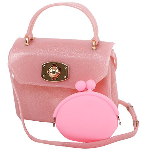 Jelly Purse Handbag (kilofly Girl's Jelly Candy Satchel Shoulder Bag Handbags + Silicone Coin)