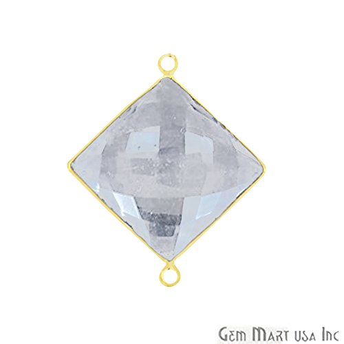 Plated Crystal Gold Double 24k - Crystal Bezel Connector 16mm Square 24k Gold Plated Double Bail By GemMartUSA(CL-10160)